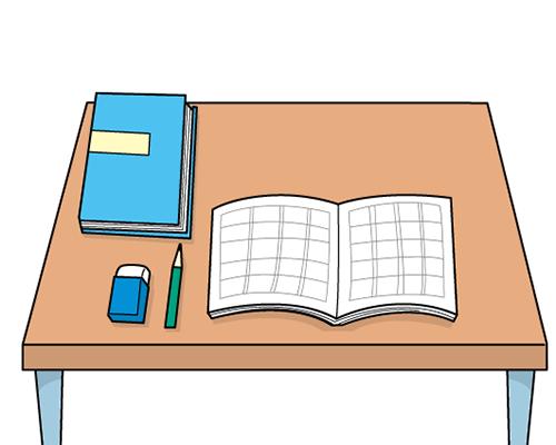 自閉症 絵カード 視覚支援 机とテキストとノート