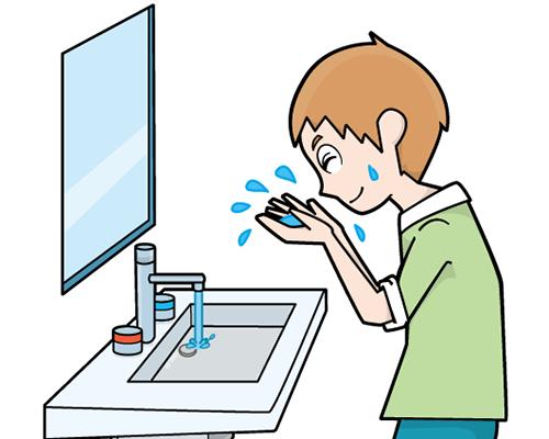 自閉症 絵カード 視覚支援 洗面台で顔を洗う男児
