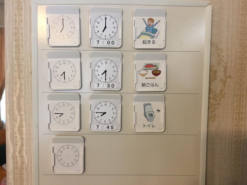 自閉症 スケジュール表 時計