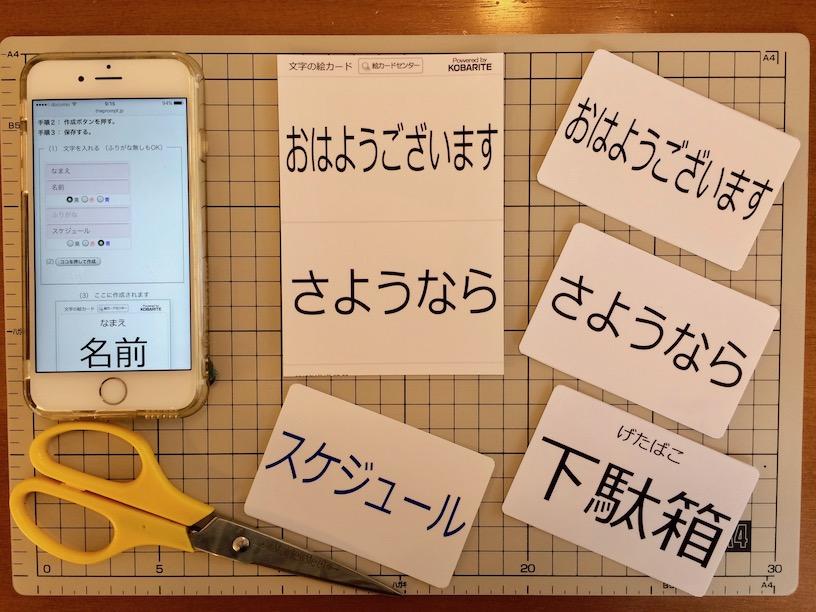 文字の絵カード(クレカサイズ)