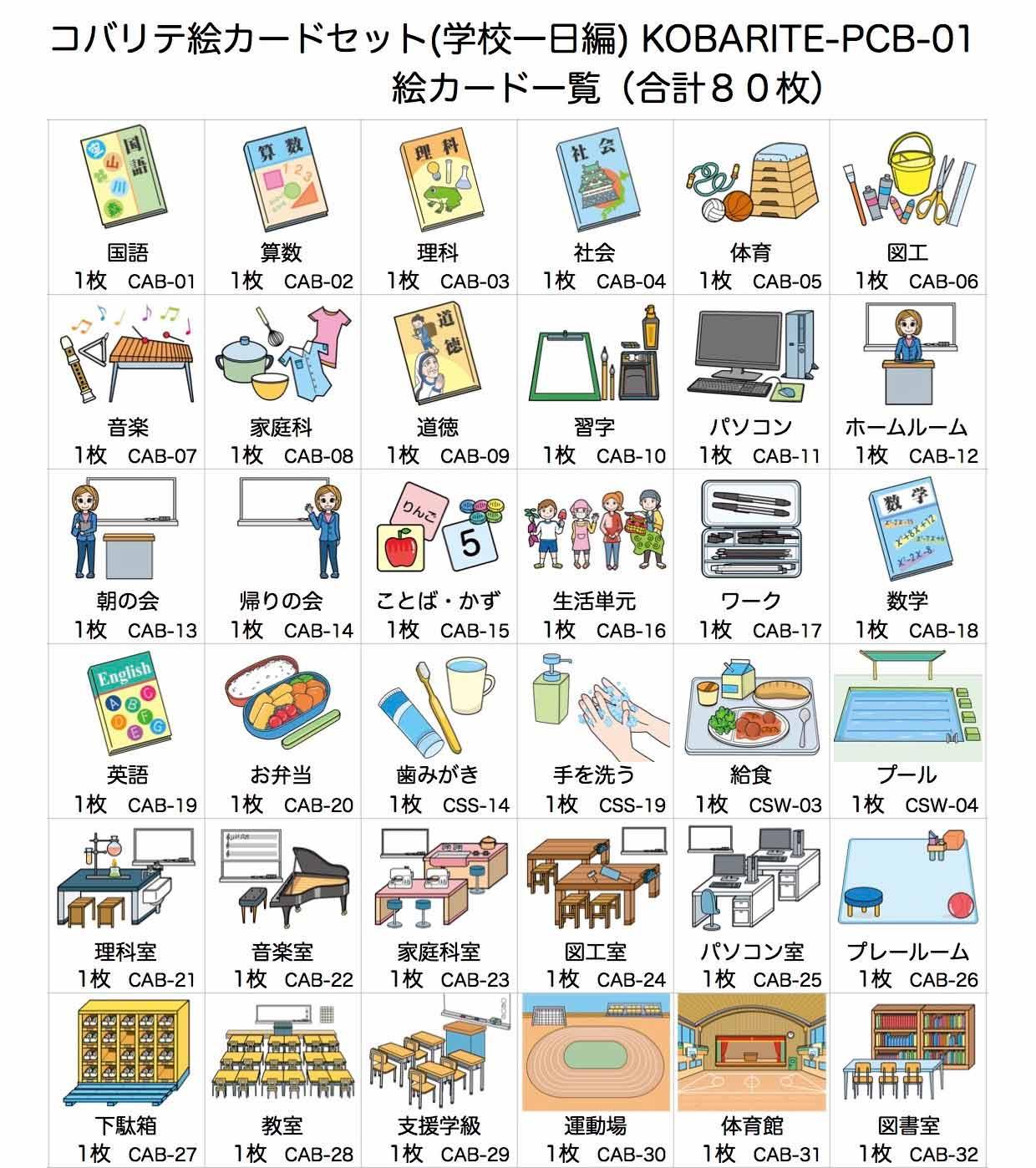 コバリテ絵カードセット(学校一日編)前半