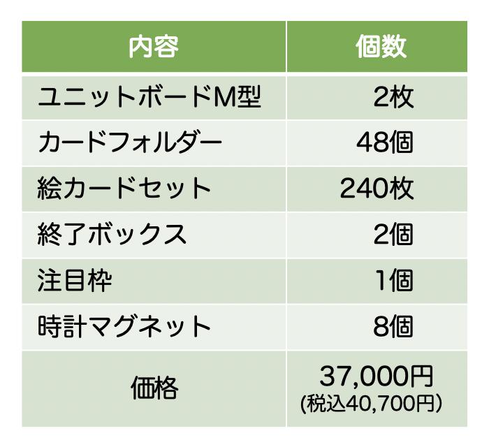 コバリテ視覚支援スクールキット:価格表:2019年10月1日現在。